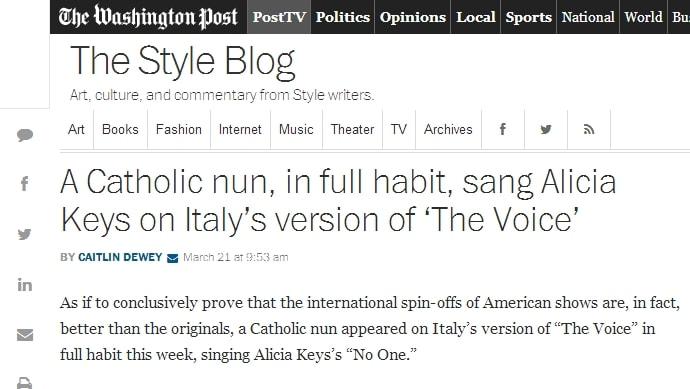 Il giornale sottolinea la performance di suor Cristina.