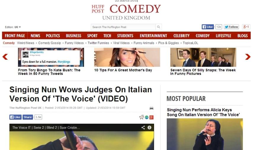 """""""Suora cantante lascia a bocca aperta i giudici di The Voice of Italy"""""""
