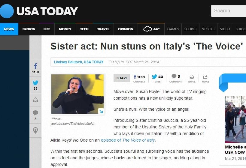 La testata paragona Suor Cristina a Sister Act.