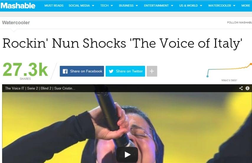 "La suora rock sciocca ""The Voice of Italy""."