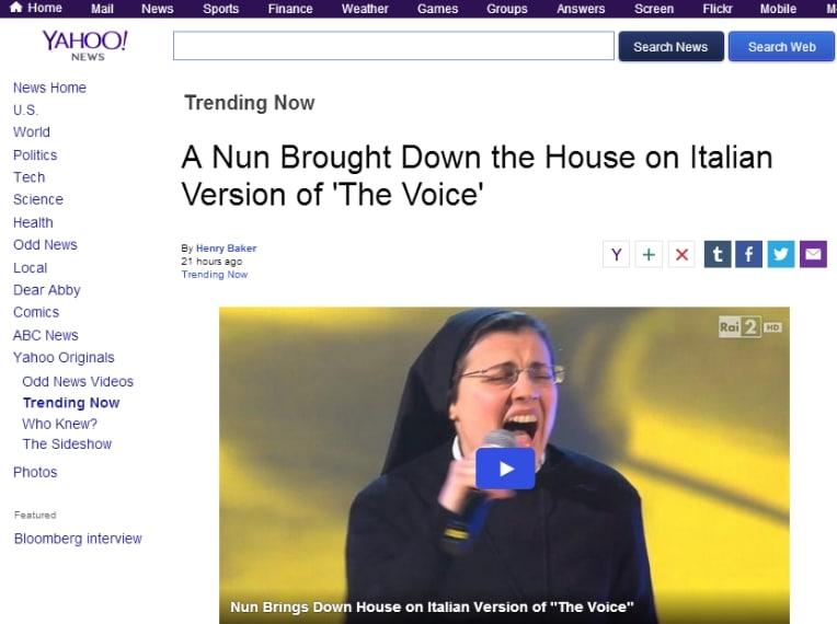 La voce dirompente di Suor Cristina anche su Yahoo News.