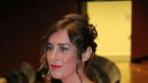 Maria Elena Boschi in abito lungo rosso al Maggio Fiorentino