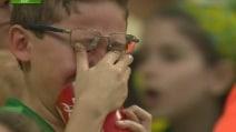Brasile-Germania, le lacrime dei tifosi brasiliani a fine primo tempo