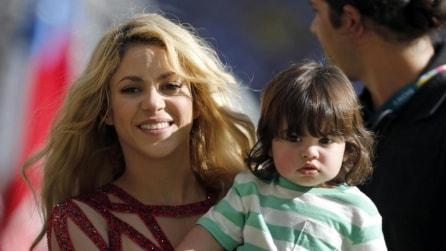 Shakira con il figlio Milan al Maracanà