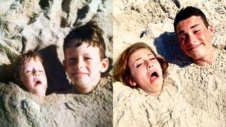 Ritornare bambini replicando una foto della propria infanzia