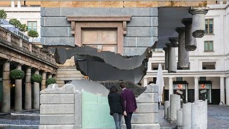 """L'edificio tagliato in due che """"galleggia"""" nell'aria: ma è solo un'illusione ottica"""
