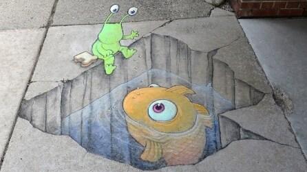 Animali e alieni, la street art di David Zinn