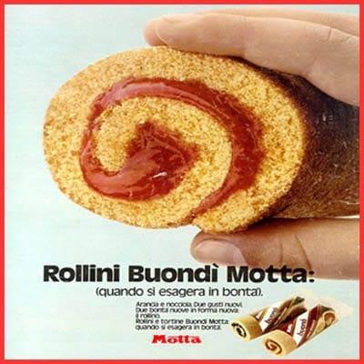 Ormai i Rollini Motta non esistono più. Arancia, cioccolato e nocciola erano le tre varianti della merendina, che era una tra le più mangiate tra i banchi di scuola.