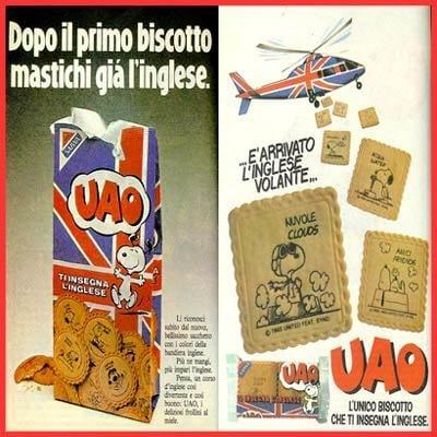 Era il pacchetto di biscotti Saiwa, in cui Snoopy insegnava l'inglese ai bambini.