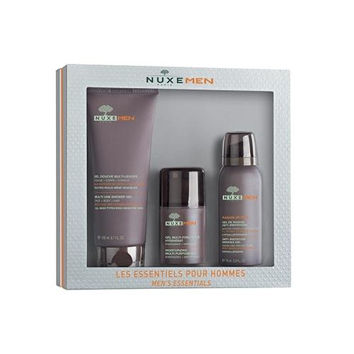 Tre trattamenti essenziali per l'uomo contenuti in un unico cofanetto: gel doccia e capelli, gel per la rasatura e gel per idratare e nutrire la pelle del viso.