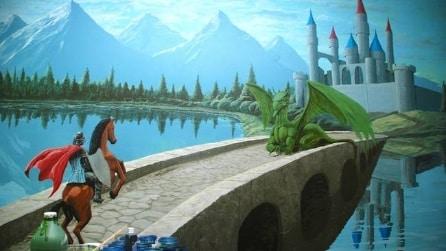 Dipinge un murales per il futuro figlio: ecco il papà più artistico al mondo