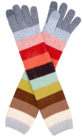 Guanti in lana con bande colorate