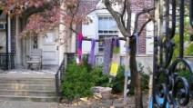 Sciarpe e guanti appesi agli alberi per i senzatetto