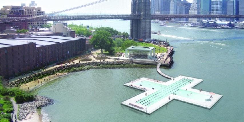 +Pool è una piscina galleggiante a forma di croce a New York che ripulisce l'acqua del fiume East River grazie ad un sistema di filtraggio a strati in grado di eliminare gradualmente i batteri e gli inquinanti, senza bisogno di prodotti chimici. Realizzata da tre creativi americani e finanziata dalla rete attraverso il sito di crowdfunding Kickstarter.