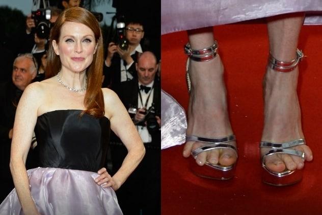 L'attrice dovrebbe evitare scarpe troppo strette ed elaborate che rischiano di attirare tutta l'attenzione sui suoi piedi.