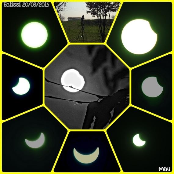 Uno splendido collage dell'eclissi solare vista a Sala Bolognese. Foto di Michela R.