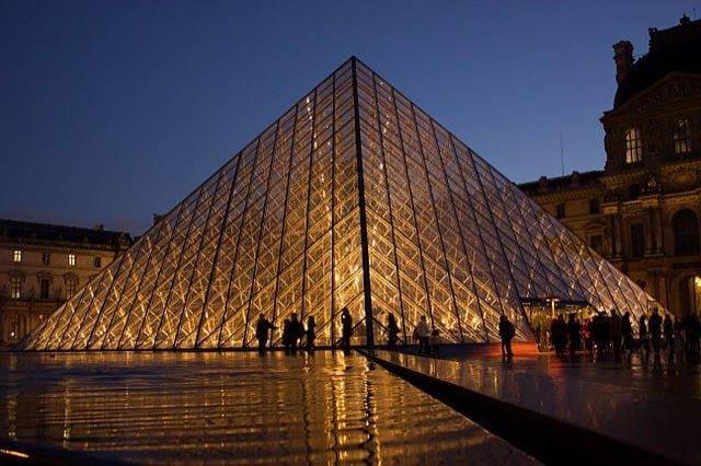 http://en.wikipedia.org/wiki/Louvre#/media/File:Louvre_Pyramid.jpg