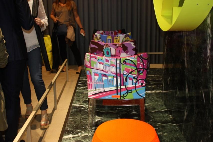 In occasione della 54esima edizione della design week di Milano, Kartell propone una nuova stampa firmata Emilio Pucci dedicata alla città di Shanghai, per la nuova versione della poltroncina imbottita Madame, creata dall'archistar Philippe Starck. Il prodotto segue il progetto della Maison Cities of the World, creato per celebrare le boutique Emilio Pucci nel mondo.