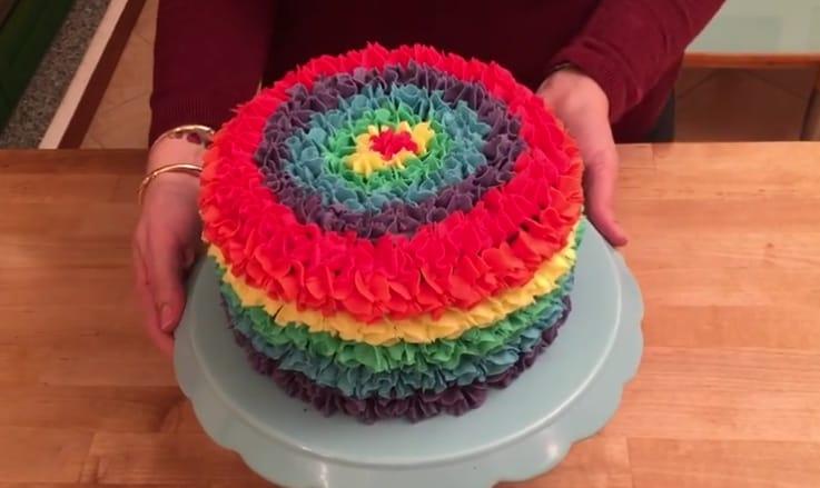 Una fantastica torta arcobaleno...