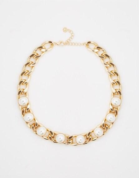Collier metallico con perle - Prezzo 25,99 €
