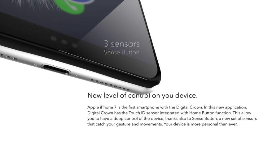 """Il controllo sarà potenziato da un """"Sense Button"""" che rileverà i tuoi gesti e movimenti in modo da rendere il tuo dispositivo ancora più unico."""