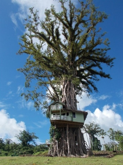 Arroccata in cima alla collina di Tiavi, in Samoa, sorge qiesta piccola casa, in una posizione del tutto inaspettata.