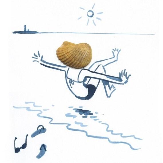 Una donna che si tuffa in acqua. I suoi capelli in movimento sono in realtà una semplice conchiglia