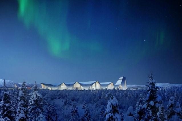 Candidato ad essere l'aeroporto più alò nord del mondo, l'Artic Circle ha un design che trae ispirazione da una catena montuosa nelle vicinanze e il vernacolare locale. Le punte che si vedono fuori terra sono sole le estremità di una struttura che si sviluppa tutta sotto terra.