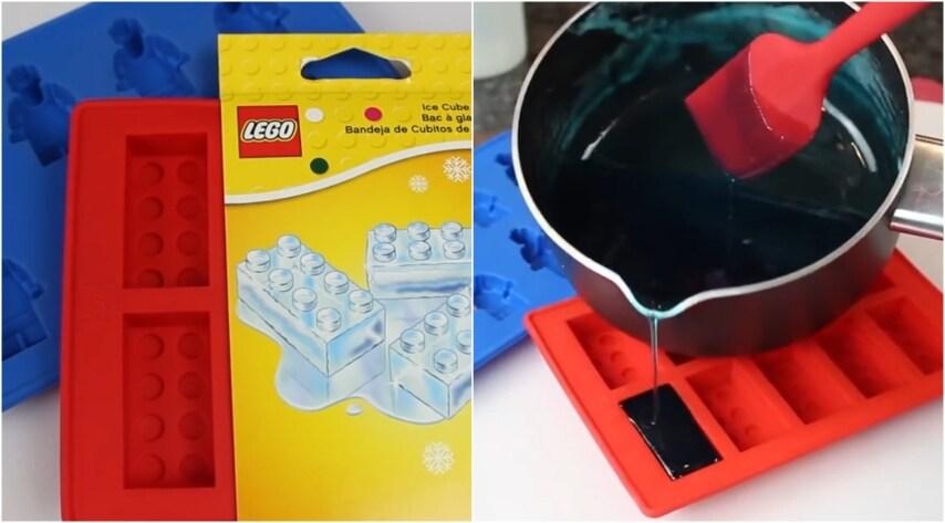 Versate il composto perfettamente liquido e uniforme nelle formine Lego che avrete acquistato precedentemente e lasciate raffreddare per 5 ore.