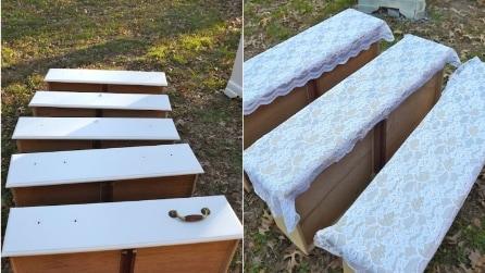 Tira fuori vecchi cassetti e li copre con il pizzo: il motivo è geniale