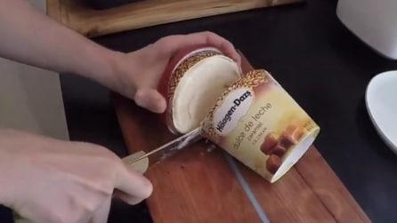 Taglia a fette una confezione di gelato ed il perché è geniale
