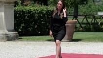 Maria Elena Boschi sfila sul tappeto d'onore a Roma