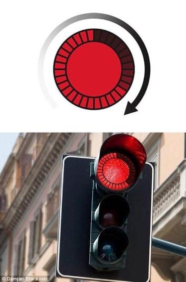 """Il semaforo """"intelligente"""". Il conto alla rovescia permette di calcolare i secondi mancanti alla partenza."""