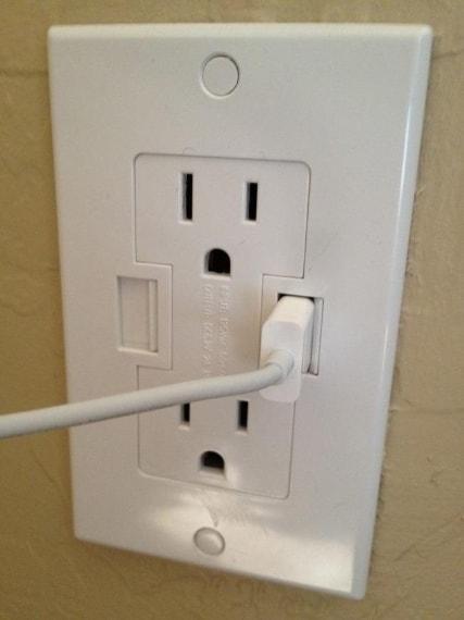 La presa che include anche l'entrata USB