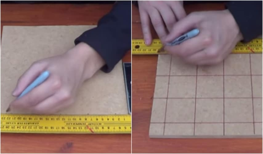 Tracciate 15 quadrati sul retro di una tavoletta di compensato ai cui incroci incollerete i tappi tagliati.