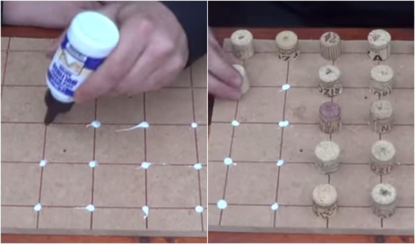 Apponete una piccola quantità di colla vinilica in corrispondenza dei vertici dei quadrati tracciati precedentemente ed incollatevi i tappi.