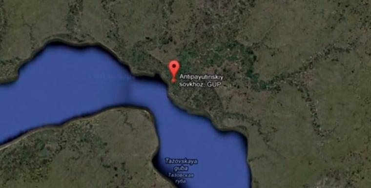 Il cratere è situato nella penisola di Yamal, in Siberia (Russia).