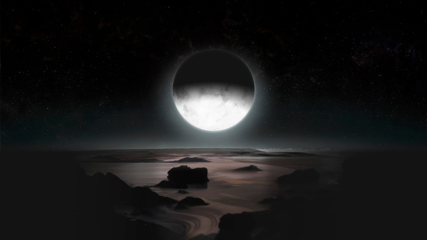 Rappresentazione grafica della Nasa raffigurante la superficie di Platone illuminata dalla luce riflessa di Caronte.