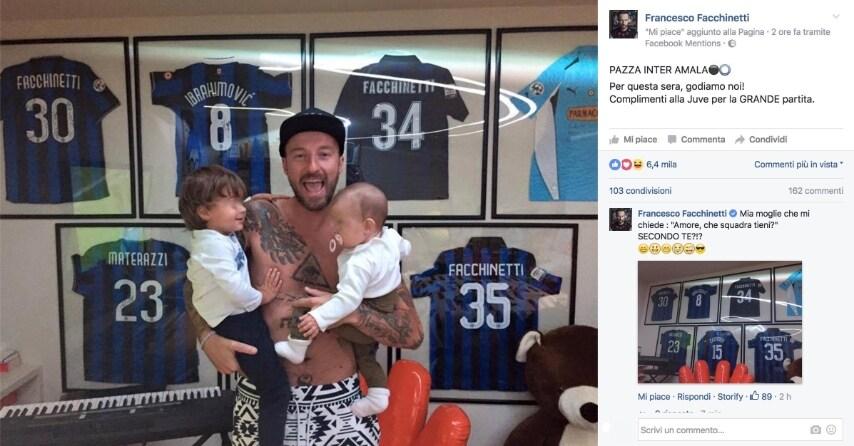 """""""Pazza Inter amala! Per questa sera godiamo noi! Complimenti alla Juve per la grande partita"""", con queste parole Francesco Facchinetti ha esultato sui social per la vittoria della sua squadra del cuore. Con lui i piccoli Leone e Lavinia."""