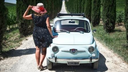 Girovagando nel Chianti a bordo di una Fiat 500 vintage