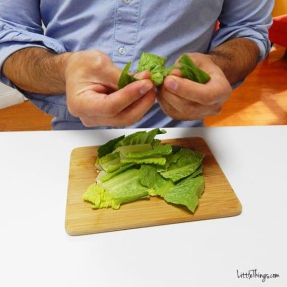Alcune foglie di insalata
