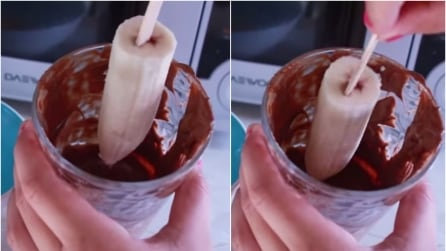 Immerge la banana congelata nel cioccolato fuso: ecco cosa ottiene