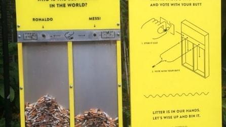 Strade più pulite con queste geniali idee: basta sigarette e chewingum in strada