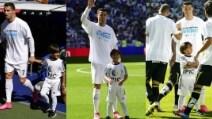 Il piccolo Zaid in campo con Cristiano Ronaldo