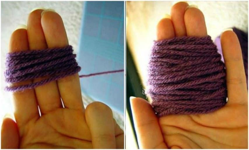 Avvolge la lana attorno le dita