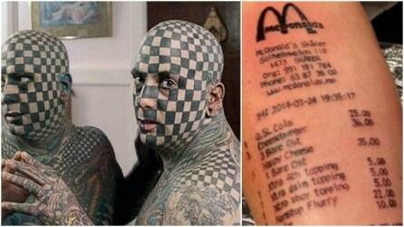 Dallo scontrino di McDonald's alla scacchiera sul viso: i tatuaggi più strani