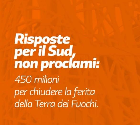 Annunciato un protocollo d'intesa con la Regione Campania per la Terra dei Fuochi.