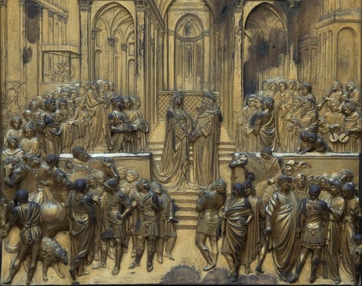 Particolare della formella con Storie di Salomone della Regina di Saba