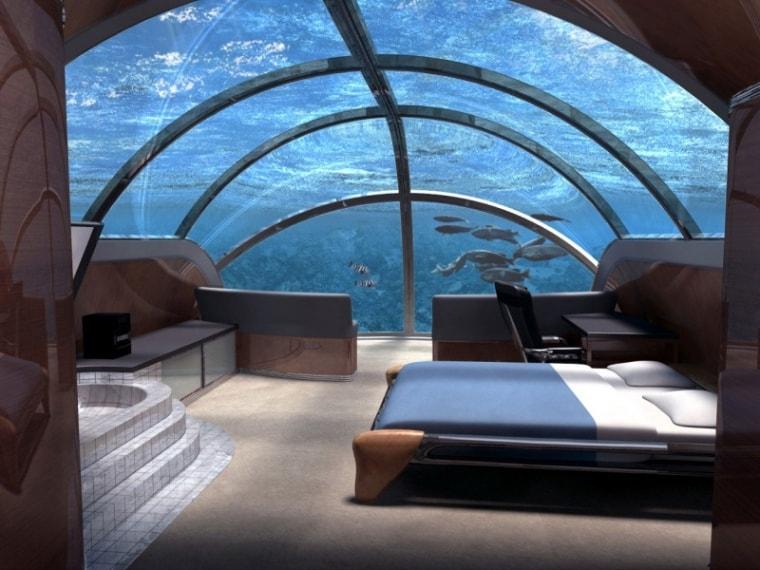 Ecco un albergo extralusso situato a 13 m sott'acqua e accessibile tramite due ascensori per avventure sottomarine indimenticabili.