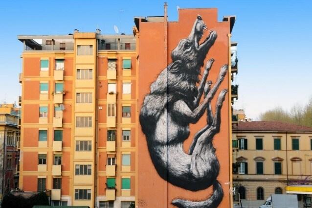 Avanguardie Urbane Roma Street Art Festival 2014 12X28mt, acrilici e spray su edificio edificio privato, Testaccio – Roma